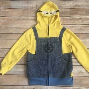 Minion hooded zip up sweatshirt